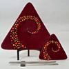 "Swirl Triangle Sushi Set -2012 Deep Red w/Frit Ball Inclusions.   Large 13"" /Small 6.5"""