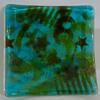 """Number 8 Dish""  -Graffiti Series -2012 Fused Translucent Teal w/Glass Powders. 6"" x 6""  -In Private Collection"
